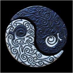 Urne yin et yang duo ciselée