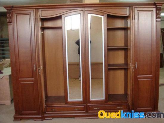 Chambre a coucher luxe en h tre massif 6 porte - Chambre a coucher en bois hetre moderne ...