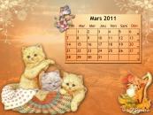 Calendrier Chat fond d'écran - Mars 2011
