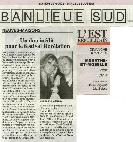10/05/09 : L'EST REPUBLICAIN (Nancy Banlieue Sud)