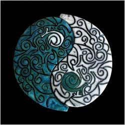 Yin & Yang duo ciselée