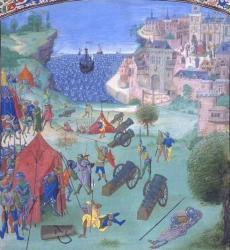 Cette enluminure est issue de la riche collection de BNF (Bibliothèque Nationale de France - Chroniques de Jean Froissart) et représente le siège de Lisbonne par les Castillans en 1384.