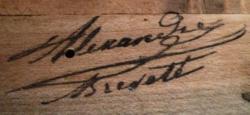 Signature d'Alexandre sur le sommier d'un harmonium