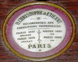 Médaillon d'un harmonium Christophe et Etienne