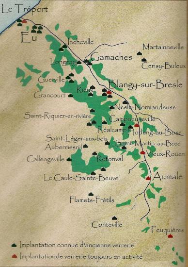 carte présentant les verreries de la vallée de la Bresle