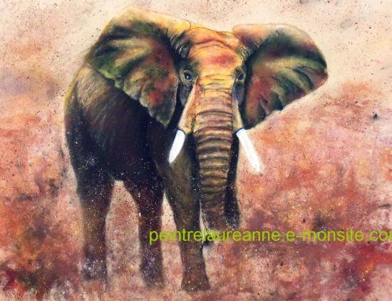dessin au pastel sec animaux éléphant