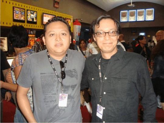 """Miguel Ventura et Carlos Carrera, drecteur de """"El padre Amaro""""."""