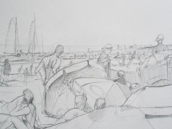 La plage au Passous. crayon 2B. avant 2000...
