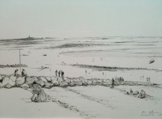 La plage à Coutainville. crayon 2B. 2001