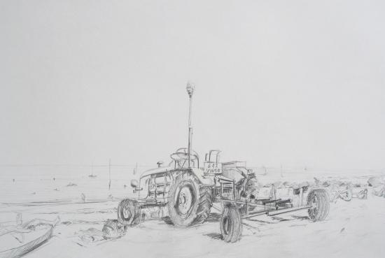 tracteur au passous. Crayon 2B. avant 2000...