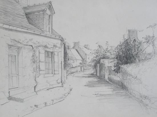 Rue d'Agon. Crayon 2B. Avant 2000.
