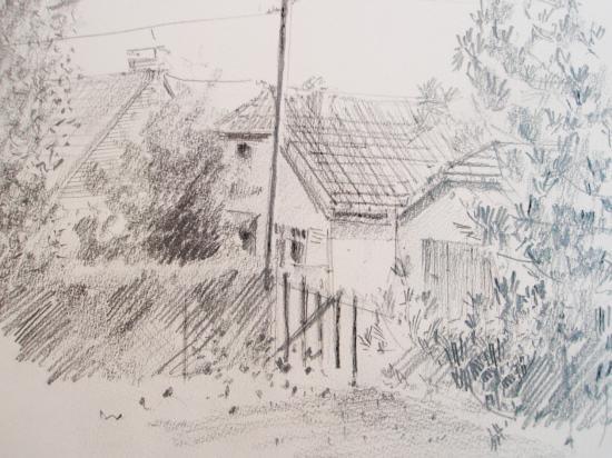 Rue des perruches. Le Passous . crayon 2B 1996