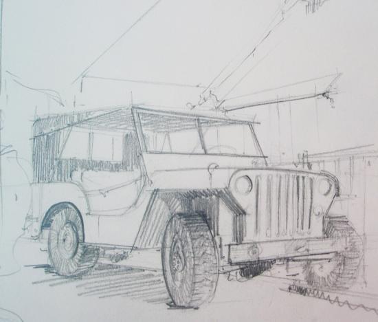 Jeep au Passous.crayon. Avant 2000...